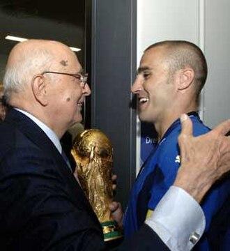 Fabio Cannavaro - Fabio Cannavaro (right), alongside Italian President Napolitano, holds the 2006 World Cup trophy