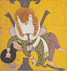 Narasimha Disemboweling Hiranyakashipu, Folio from a Bhagavata Purana (Ancient Stories of the Lord) LACMA M.82.42.8 (3 of 5).jpg