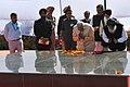 Narendra Modi paying homage at the samaadhi of 'Punjab Mata' (mother of Shaheed Bhagat Singh), at Hussainiwala, in Punjab. The Chief Minister of Punjab, Shri Parkash Singh Badal (1).jpg