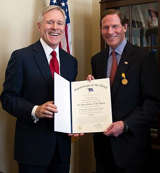 Ray Mabus - Secretary of the Navy Ray Mabus presents the Navy Distinguished Public Service Medal to U.S. Senator Richard Blumenthal (D-CT)
