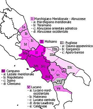 Il dialetto foggiano rientra nei dialetti dauno-appenninici (IIIa) nel sistema dei dialetti italiani meridionali