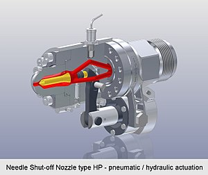 Shut-off nozzle - Needle Shut-off Nozzle type HP - pneumatic or hydraulic actuation