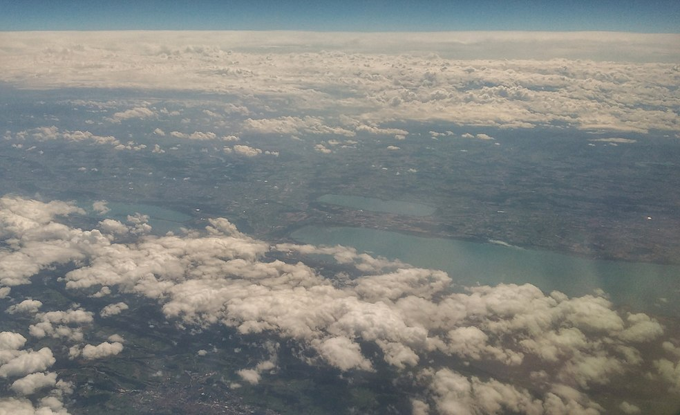 Air view of lakes Neuchâtel, Biel and Murten