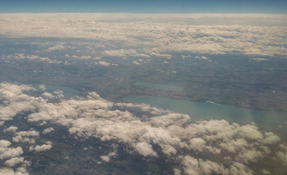 Air view of lakes Neuchâtel, Biel and Murten