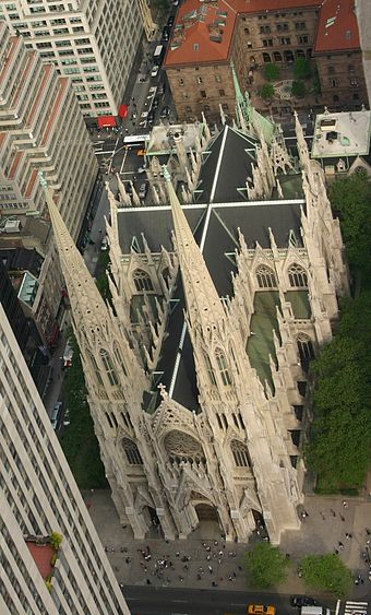 St. Patrick's Cathedral in New York City, as seen from Rockefeller Center. NewYorkStPatrick03.jpg