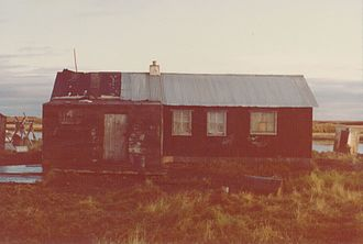 Newtok, Alaska - Building that functioned as the Head Start school and church, 1974