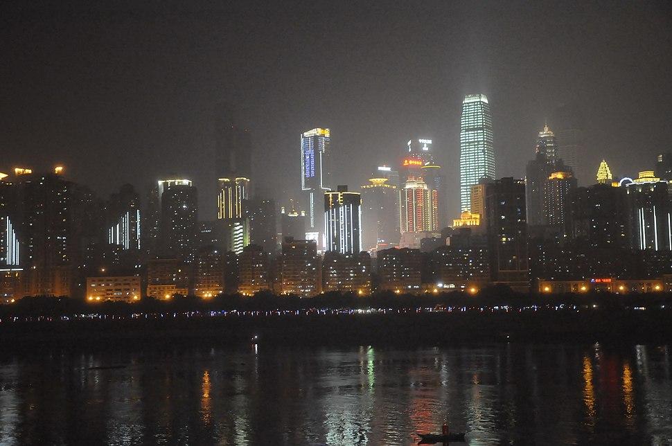 Night view of Chongqing CBD at the angle across Yangtze river