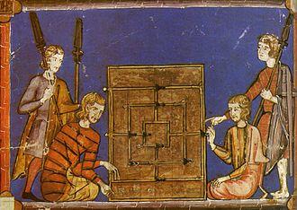 Libro de los juegos - A 13th century illustration in Libro de los juegos of Nine Men's Morris being played with dice