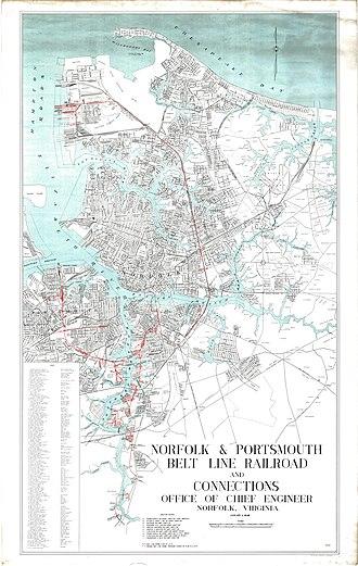 Norfolk and Portsmouth Belt Line Railroad - Image: Norfolk and Portsmouth Belt Line Railroad map 1947