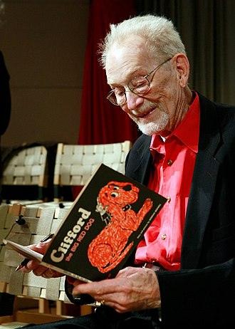 Norman Bridwell - Bridwell in 2011, holding a copy of the first Clifford the Big Red Dog book.
