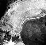 Norris Glacier, valley glacier terminus with trimline visible on the valey walls, August 22, 1965 (GLACIERS 6040).jpg