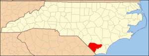 National Register of Historic Places listings in Columbus County, North Carolina - Image: North Carolina Map Highlighting Columbus County
