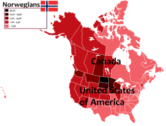 Norwegians - A map of North America, with the percentage of Canadians and Americans of Norwegian descent in each province, territory and state in Canadian and the U.S.