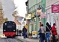 Nostalgische Dampfeisenbahn Molli zwischen Kühlungsborn und Bad Doberan vor der Fahrschule Wunderlich - panoramio.jpg