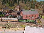 Hornby Railways Flying Scotsman locomotive on an 00 gauge layout