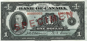 1935 Series (banknotes) - Image: Obverse of $1 banknote, Canada 1935 Series, English version