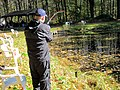 October 13, 2012, Sunderland, MA- Kenny DeSalvo lands a trout from a pond at the U.S. Fish and Wildlife Service's Richard Cronin National Salmon Station. DeSalvo has been fishing since he was six (8091531095).jpg