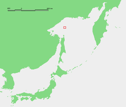 Location of Ioni Island in the Sea of Okhotsk.