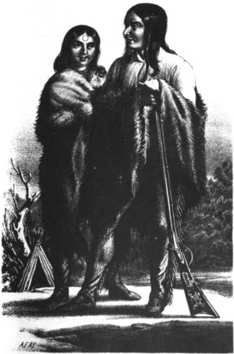 Battle at Fort Utah - Drawing of Old Elk and his wife.