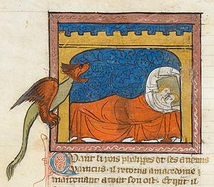 Roman d'Alexandre en prose - Olympias and Nectanabus conceive Alexander (Royal MS 19 D i, c. 1340)