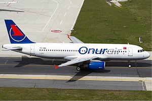 Onur Air - An Onur Air Airbus A320 at Istanbul Atatürk Airport in 2011.