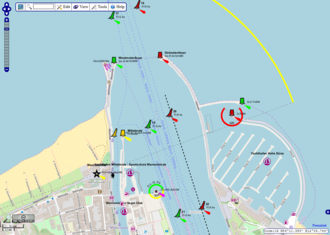 Nautical chart - A nautical chart of the Warnemünde harbor shown on OpenSeaMap