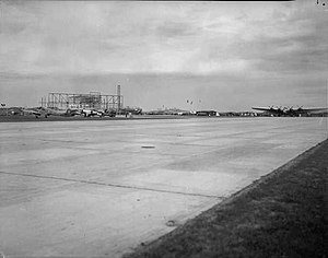 Stavanger Airport, Sola - Sola Airport being opened, to the right a Deutsche Luft Hansa Junkers G.38