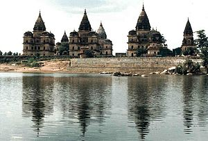 Orchha State - Memorial Chhatris of the ruler of Orchha, on the bank of the Betwa River
