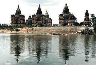 Orchha - Chhatris on the bank of the Betwa River