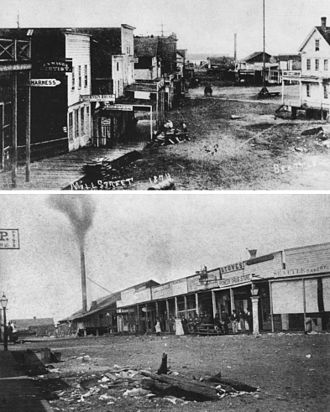 "Skid row - Two photos of the original ""Skid Road"" (Mill Street, now Yesler Way) in Seattle, Washington. Top: View looking west to Yesler's Mill at the end of the street (see smokestack) and nearby cookhouse; the tall pole in the road on the right is where the Pioneer Square pergola stands today, (1874) Bottom: Yesler's Mill, stores, and taverns on Skid Road"