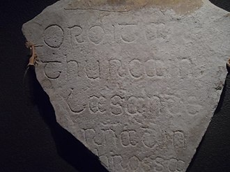 "Middle Irish - Middle Irish inscription from Clonmacnoise: Oroit ar Thurcain lasan dernad in chrossa: ""Pray for Turcan by whom this cross was made."""