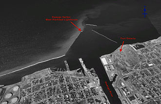 Oswego Harbor West Pierhead Light - Faux aerial image depicting relative position of the lighthouse to the Oswego waterfront