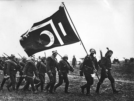 Ottoman troops during the Balkan Wars Ottoman troops with flag.jpg