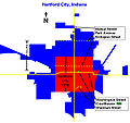 Outline of Hartford City IN 1876-2009.jpg
