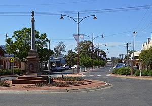 Ouyen - Oke Street, the main street of Ouyen. The war memorial is in the foreground