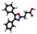 Oxaprozin molecule ball.png