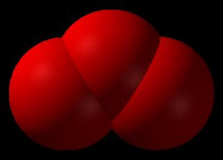 Modell av ozon, O3.