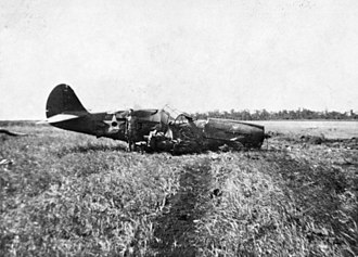 Bombing of Darwin - A downed USAAF P-40E