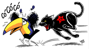Workers' Party (Brazil) - PT as a black cat chasing a toucan (PSDB's mascot) by Carlos Latuff.