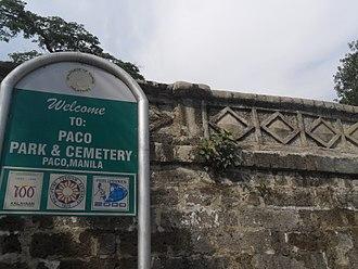 Paco Park - Paco Park entrance marker