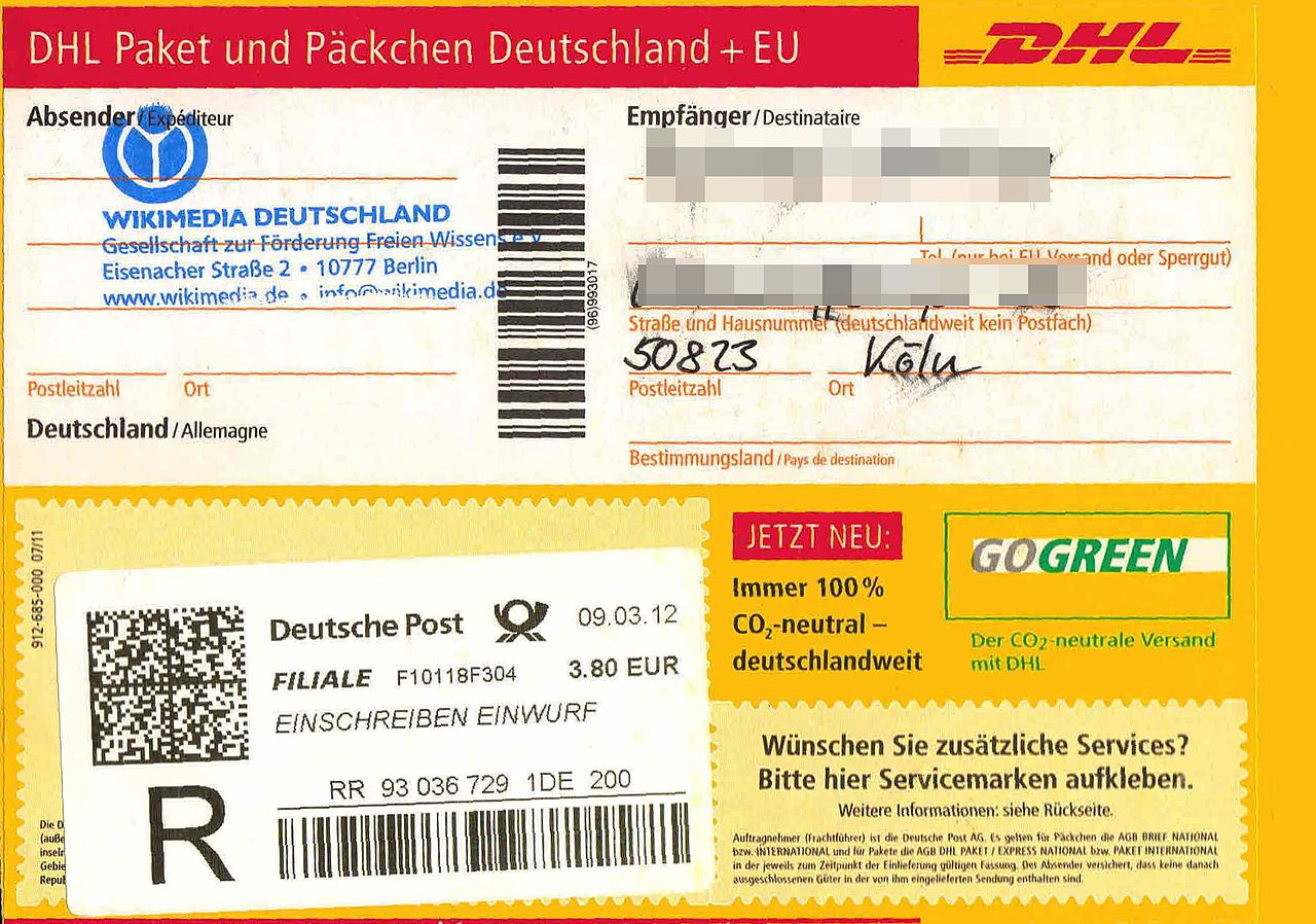file paketaufkleber deutsche post als einwurf einschreiben wikimedia commons. Black Bedroom Furniture Sets. Home Design Ideas