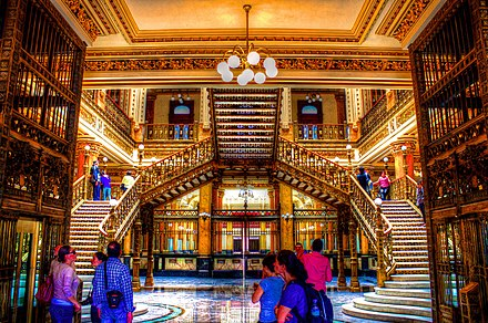 The gilded central foyer of the Palacio Postal, now used as the primary post office of central Mexico City. Palacio Postal - panoramio (1).jpg
