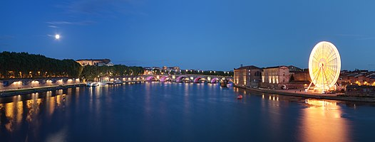 View of the garonne river by night in Toulouse