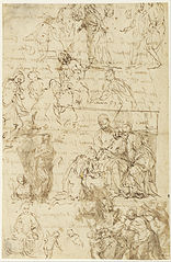 Studies for The Mystic Marriage of Saint Catherine and The Holy Family with Saints Anne, John the Baptist and Catherine