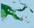 Papua New Guinea provinces by % of forest cover.png