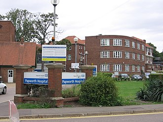 Royal Papworth Hospital - The existing hospital's front entrance.