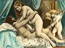 A man and a woman engage in intercourse with a cupid like character in the background.