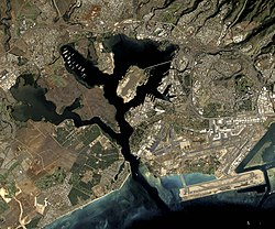 Satellite image of Pearl Harbor. Hickam AFB and Honolulu International Airport occupy the lower right corner