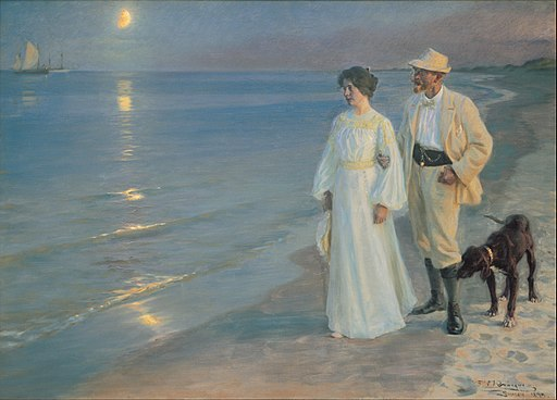 Peder Severin Krøyer - Summer evening on the beach at Skagen. The painter and his wife. - Google Art Project
