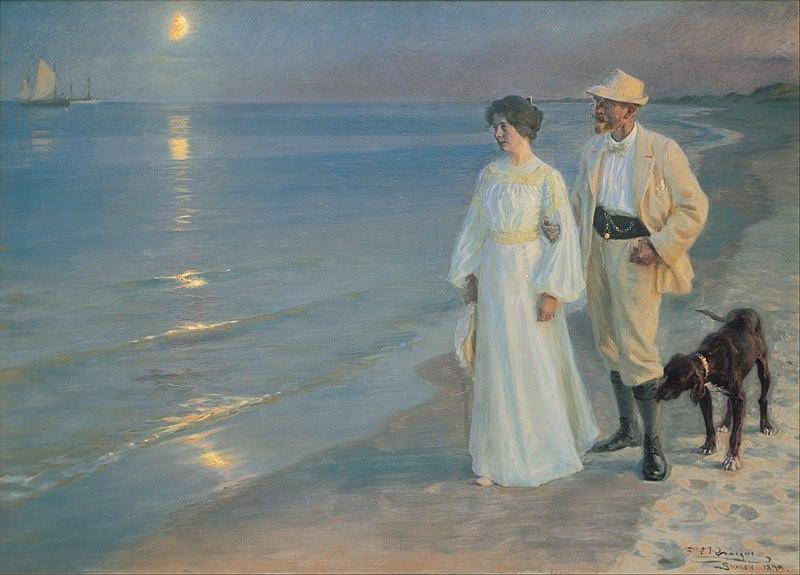 Peder Severin Krøyer - Summer evening on the beach at Skagen. The painter and his wife. - Google Art Project.jpg